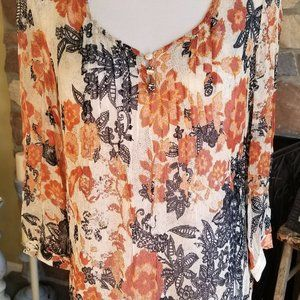 LUCKY BRAND SHEER FLORAL BLOUSE TOP - M -EXCELLENT